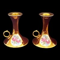 Limoges T & V France Gold luster and Roses set of 2 Candlesticks 1917