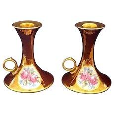 Limoges T & V France Gold luster and Roses set of 2 Candlesticks 1917