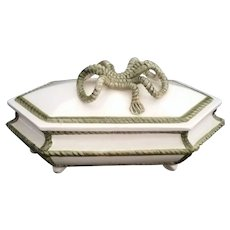 Vintage Fancy Vanity  Jewelry Trinket Box with a Green Bow  Made in Italy