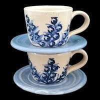 Dorchester Pottery Blueberry set of 2 Demitasse Cup & Saucers signed CAH EHH