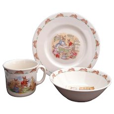 1984 Royal Doulton Golden Jubilee Bunnykins Set Plate, Bowl and Cup