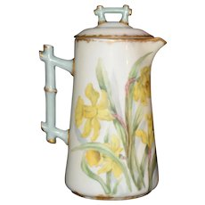 Beautiful Daffodil French Limoges D & Co. Coffee Pot Hand painted Signed