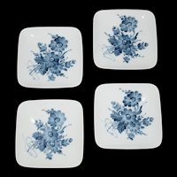 Blue and White Floral Royal Copenhagen Square Butter Pat set of 4 plates c1970