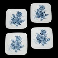 Blue and White Floral Royal Copenhagen Square Butter Pat set of 4 plates c1970