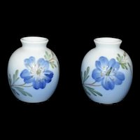Mini Blue Floral Vase set by Royal Copenhagen Hand painted 1967