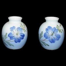 Mini Blue Floral Vase set by Royal Copenhagen Hand painted 1967