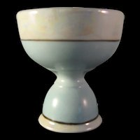 Vintage Porcelain Robins Egg Speckled Blue w Iridescent Double Sided Egg Cup