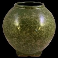 Speckled Green American Pottery Round Vase Mid 20th Century