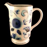 Holt Howard Blue Floral Water Pitcher hand painted on shades of Blue – 1965  #8068