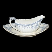 Kent Blue Gravy Boat set by T. Furnival & Sons c1888