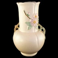 Weller Pottery Rare Rudlor Wild Rose with tree branch handle Vase 1930's