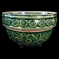 """Green Artware pottery raised floral pattern hanging pottery planter 7"""" c1920"""