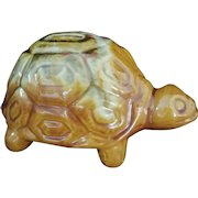 Vintage Turtle Bank ceramic coin bank gold orange c1960's
