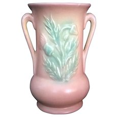 "Hull Pottery Pink Matte Thistle Vase 33 – 6 ½"" USA"