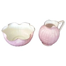 Pink American Belleek Pitcher and Sugar Bowl by Ott and Brewer c1880