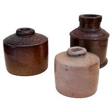 Antique Salt glazed Stoneware Ink bottle group of 3