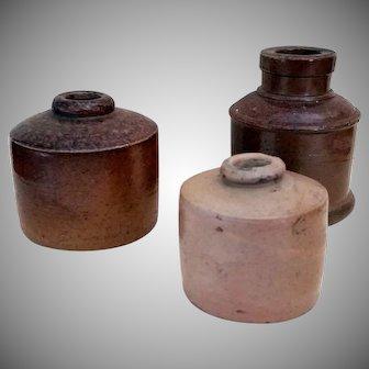 Antique Salt glazed Stoneware Ink bottle group of 3