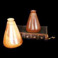 Antique Salt glazed Stoneware Ink bottle group of 2 c1870's