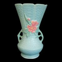 Weller Art Pottery Aqua Blue Wild Rose handled Vase # 13