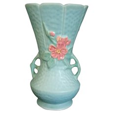Weller Art Pottery Aqua Blue Wild Rose handled Vase # 13
