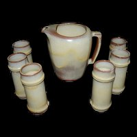 Frankoma Desert Gold Water Pitcher #5D and 6 bamboo tumblers #T2