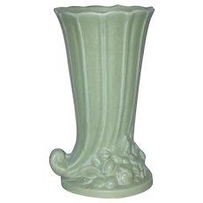 McCoy Green Matte Cornucopia Vase c1930