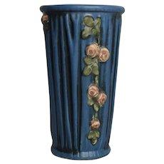 Weller Blue Roses Drapery Vase c 1915