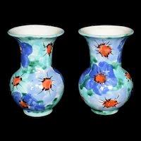 "Italian Pottery Vase pair Blue Green Hand Painted 5"" Mid Century Modern"