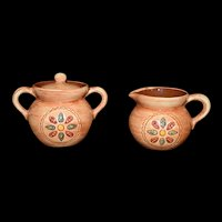 Pennsbury Pottery Cream and Sugar Bowl Americana Folk Art Vintage