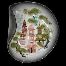 Sascha Brastoff Art Pottery Village Free Form Plate Dish c1950's