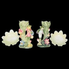 Art Nouveau Majolica Frog Vases and Lily Pads c1850