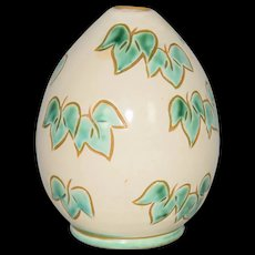 Green Leaf Wheel thrown Art Pottery incised Vase MCM Denmark c1960
