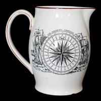 Antique Mariners Compass Creamer Pitcher Adams Tunstall England est 1657 c1900