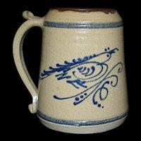 Rare Cobalt Blue Bird Brown Tankard Cedar Swamp Stoneware Co. c1980