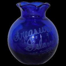 Treasure Island 1939 Souvenir Cobalt Etched Blue Mini Vase
