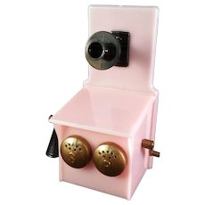 Miniature Pink Plastic Party Line Wall Telephone Salt and Pepper Set In Original Box circa 1940