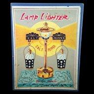 Brass Lamp lighter Salt and Pepper Shaker set c1950 Fred Robert Company Japan