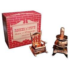 Rocker n Stove Salt n Pepper Shaker set Metal Made in USA Mid Century