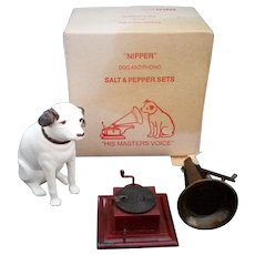 Vintage RCA Nipper Dog and Phonograph Salt Pepper Shaker His Masters Voice 1950's