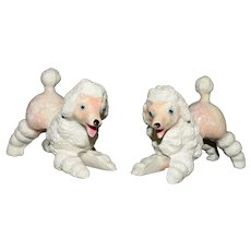 Playful Pink and white Poodle salt and pepper shaker set MCM