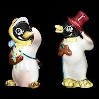 Anthropomorphic Penguin Salt & Pepper Shakers Vintage Ceramic