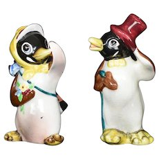 Anthropomorphic Penguin Salt & Pepper Shakers Vintage Ceramic