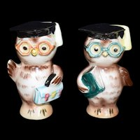 Anthropomorphic Owl Graduation Salt & Pepper Shakers