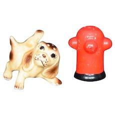 Dog and Hydrant Salt and Pepper Shaker Set Vintage Japan
