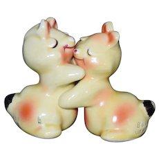 Yellow Bunny Hug Salt & Pepper Shaker set c1950 by Van Tellingen