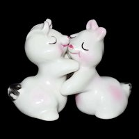 Rare White and Pink Bunny Hug Salt & Pepper Shaker set signed Van Tellingen c1948