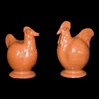 Rare Red Clay Glazed Chicken Rooster Salt Pepper Shaker Set Vintage