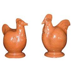 Rare Red Clay Glazed Chicken Rooster Salt Pepper Shaker Set Vintage