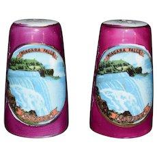 Lusterware Souvenir Salt Shaker set from Niagara Falls Canada Vintage