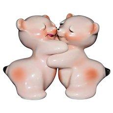 Pink Bear Hug Salt & Pepper Shaker set c1950 by Van Tellingen